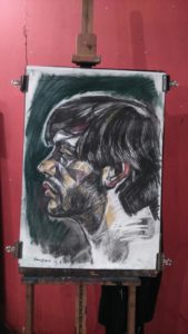 A drawing of a Josh's face in profile (from life drawing hen party activity with Hens with Pens).